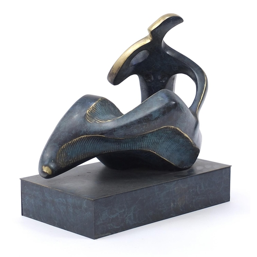 44 - Mid century design patinated bronze study of a female, 36cm wide