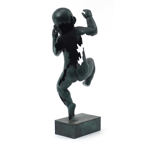 46 - Large patinated bronze study of a nude baby boy, 61cm high