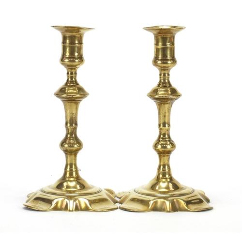 31 - Pair of 18th century brass candlesticks, each 20.5cm high
