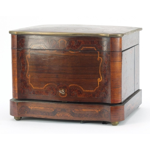 18 - 19th century French rosewood marquetry inlaid liquor cabinet with hinged lid and doors enclosing an ...