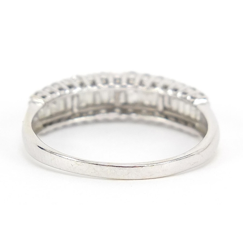 16 - 9ct white gold diamond half eternity ring, 1.0 carat in total, size W, 2.9g