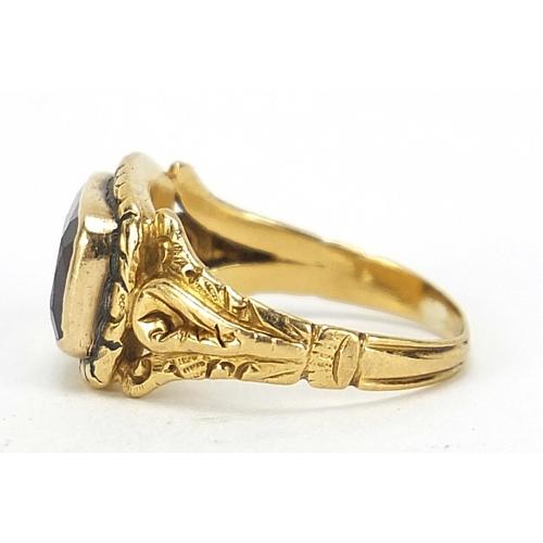 59 - Georgian gold garnet ring with ornate setting, London 1824, size K, 3.2g