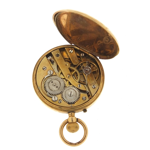 14 - French gold ladies pocket watch with enamel dial, 33mm in diameter, 29.5g