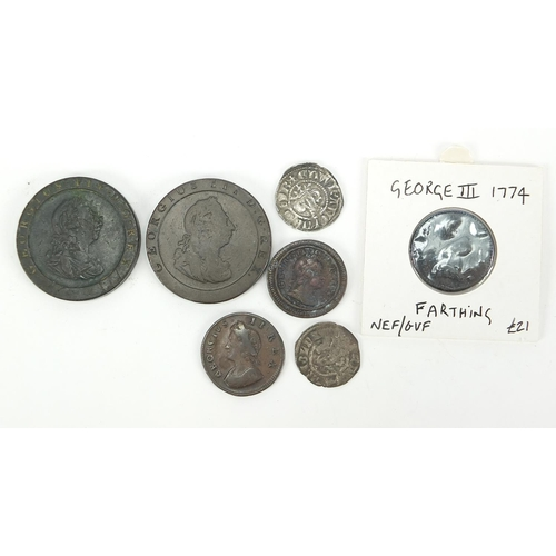Hammered and later British coinage, some silver, including two Edward I pennies and George III farthing