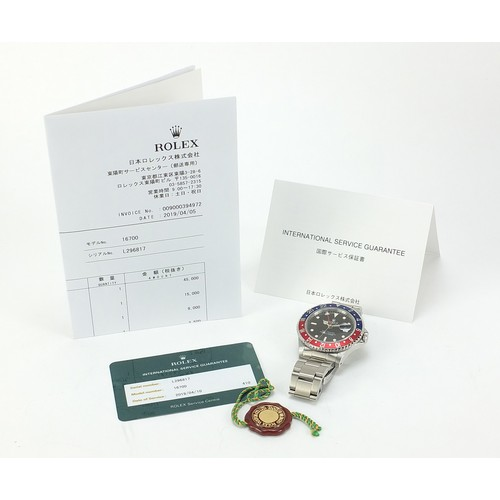 36 - Rolex, gentleman's GMT Master automatic wristwatch with Pepsi bezel and date aperture, Ref 16700, Se...