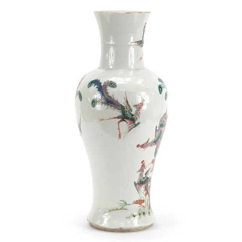 6 - Large Chinese porcelain vase finely hand painted in the famille rose palette with phoenixes amongst ...