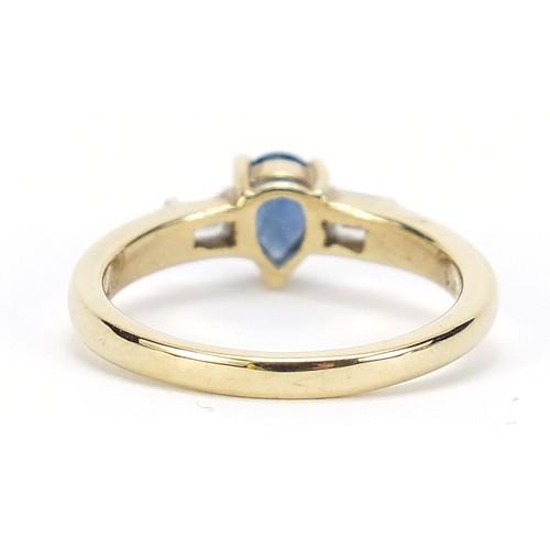 56 - 9ct gold pear cut sapphire ring with baguette cut diamond shoulders, size M, 2.9g