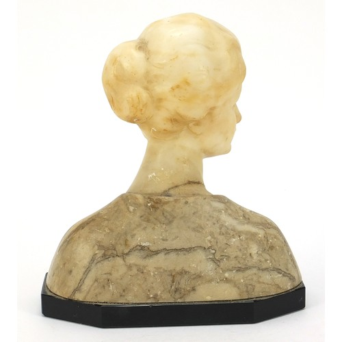 43 - Art Deco alabaster, marble and black slate bust of a young female, 20.5cm high