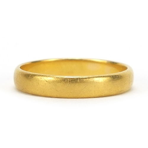697 - George V 22ct gold wedding band, London 1919, size N, 3.3g - this lot is sold without buyer's premiu...