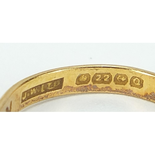 675 - Five Victorian and later 22ct gold wedding bands, London 1900, 1926, 1961, sizes P, O/P, L and Birmi...