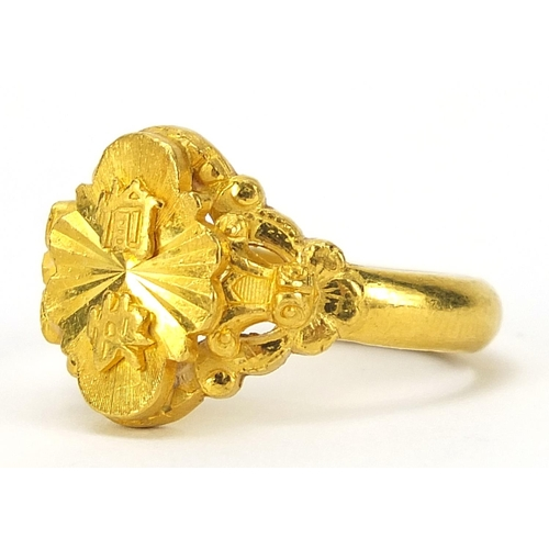 Chinese gold ring, (tests as 18ct+ gold), impressed character marks, size N, 11.0g - this lot is sold without buyer's premium, the hammer price is the price you pay