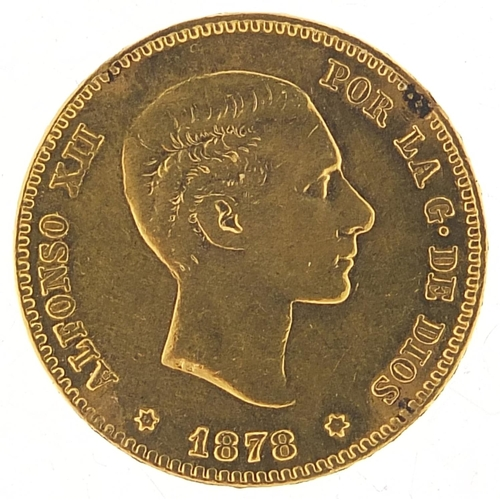 662 - Alfonso XII 1878 gold twenty five pesetas - this lot is sold without buyer's premium, the hammer pri...