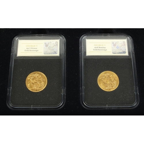 651 - The World War I Sovereign Collection comprising five George V gold sovereigns, 1914 London Mint, 191...