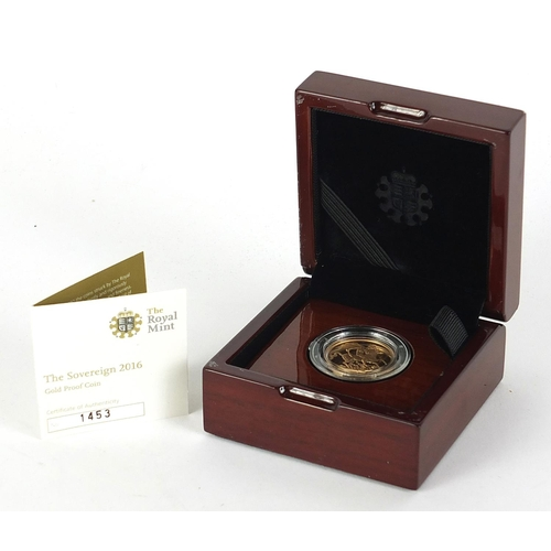 660 - Elizabeth II 2016 gold proof sovereign with case and certificate numbered 1453 - this lot is sold wi...