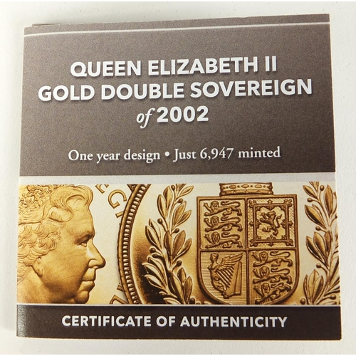 690 - Elizabeth II 2002 gold double sovereign by Hattons of London with case and certificate - this lot is...