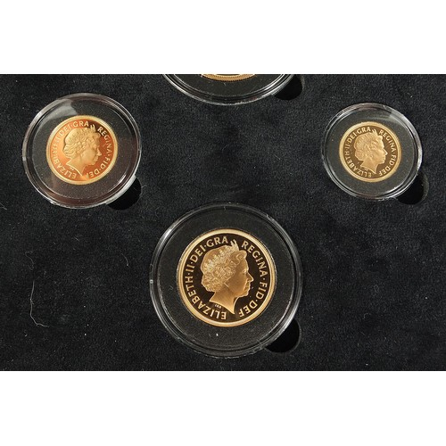 710 - Queen Elizabeth II 2002 Golden Jubilee complete four coin sovereign set by Hattons of London, with c...