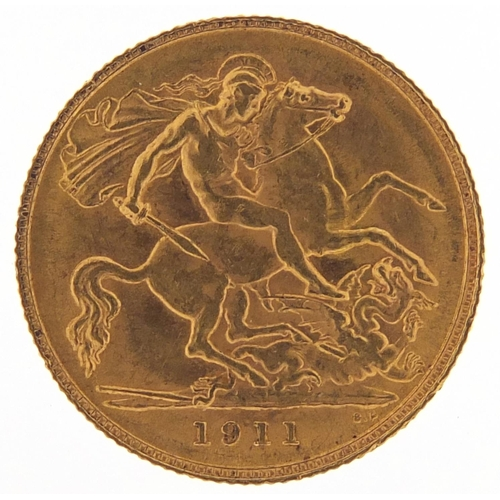 George V 1911 gold half sovereign - this lot is sold without buyer's premium, the hammer price is the price you pay