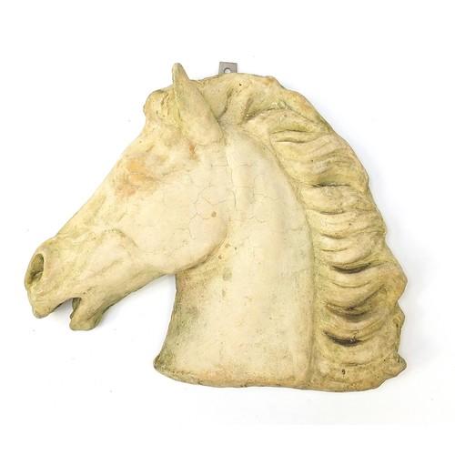 Garden stoneware horsehead mask, 36.5cm high