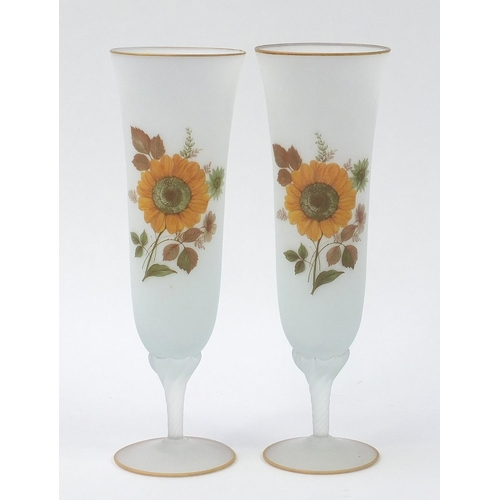 Large pair of frosted glass vases decorated with flowers, each 37.5cm high