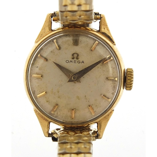 Omega, vintage ladies 9ct gold wristwatch housed in a J W Benson box, 19mm in diameter