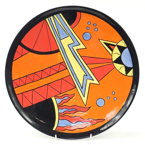 Lorna Bailey for Carltonware, Art Deco design hand painted charger, limited edition 65/100, 34.5cm in diameter