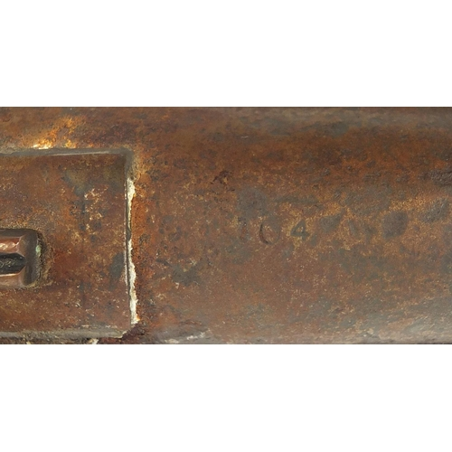 3532 - 19th century two band percussion cap rifle impressed Tower to the plate, 103cm in length