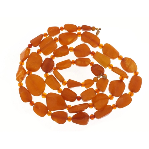 Butterscotch amber coloured bead necklace, 100cm in length, 71.2g
