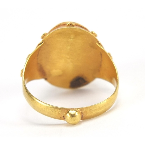 29 - Antique unmarked gold intaglio silver ring carved with a gladiator head, (tests as 15ct+) size M, 5....
