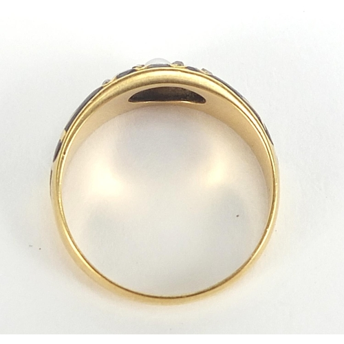 31 - Antique 18ct gold, pearl, diamond and black enamel mourning ring, Chester 1904, size N, 3.6g