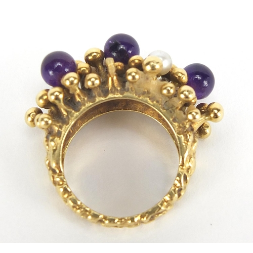 20 - Stuart Devlin, 18ct gold amethyst and pearl ring, size L, 15.7g