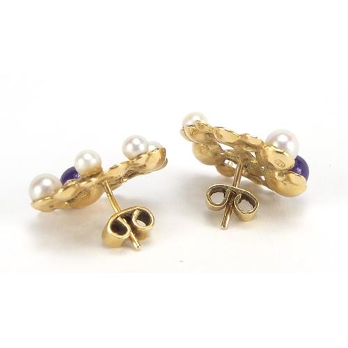 21 - Stuart Devlin, pair of 18ct gold amethyst and pearl stud earrings, 2.1cm high, 7.5g