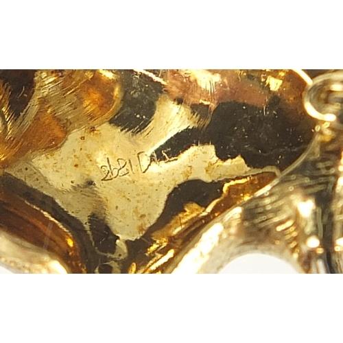 14 - 18ct gold and diamond elephant brooch, E W & Co maker's mark, 3.5cm wide, 20.0g