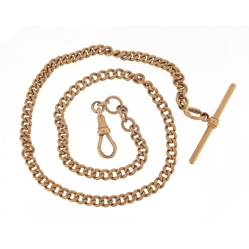 52 - 9ct rose gold watch chain with T bar, 40cm in length, 29.1g