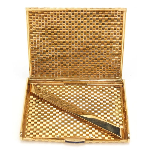 55 - 18ct gold basket weave design cigarette case with blue sapphire push button, marked 750 to the inter...