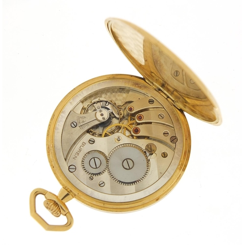 28 - Buren 18ct gold open face pocket watch with subsidiary dial, the case numbered 101911, 46mm in diame...
