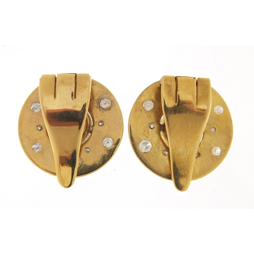 57 - Pair of continental unmarked gold diamond and garnet clip on earrings, (tests as 15ct+ gold) 1.8cm i...