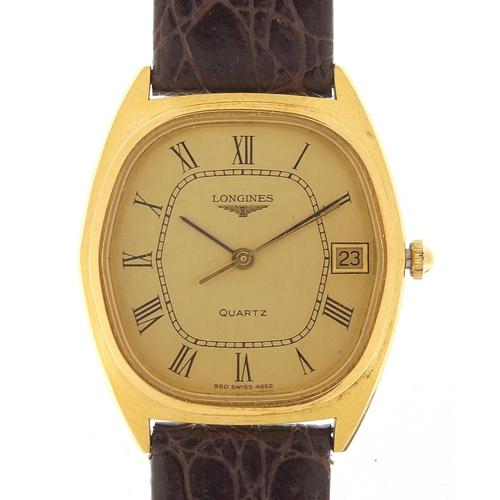 Longines, gentlemen's quartz wristwatch with date aperture, the case 32mm wide
