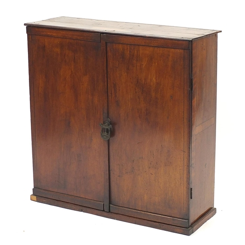 Walnut two door cupboard with inlaid plaque Broadwood & Sons London, 86cm H x 85cm W x 30.5cm D