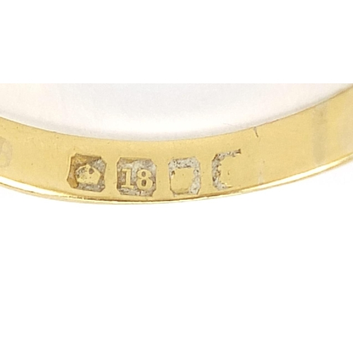 1 - 18ct gold diamond three stone Gypsy ring, size U, 5.0g