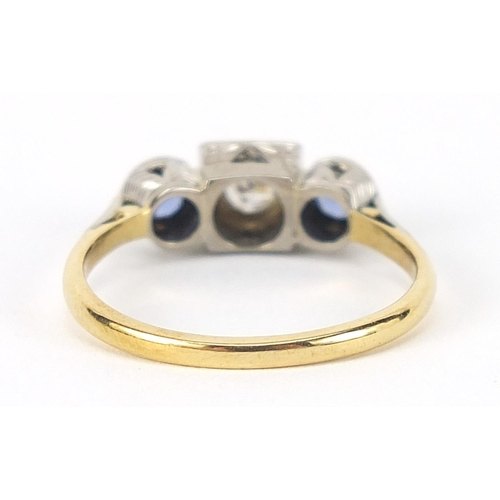 3 - Art Deco 18ct gold and platinum diamond and sapphire three stone ring, size O, 3.3g