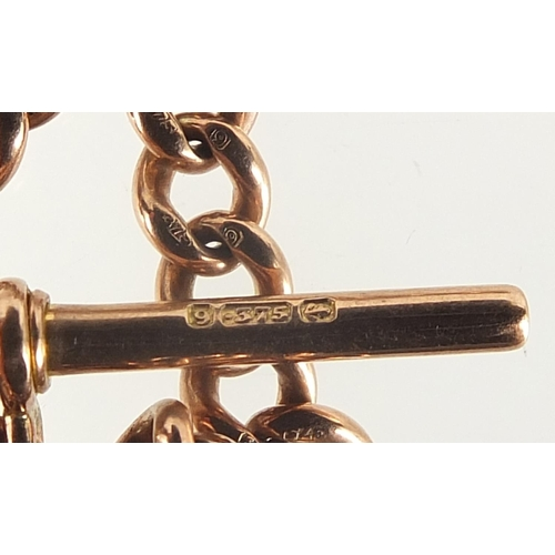 8 - 9ct rose gold watch chain with T bar, 45cm in length, 36.0g