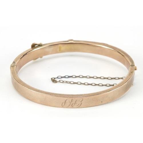 4 - Victorian unmarked gold belt buckle design hinged bangle, 6.5cm wide, 10.2g
