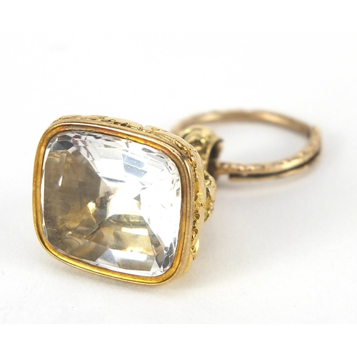 54 - Georgian unmarked gold quartz fob with split ring, the fob 3cm high, total 18.2g