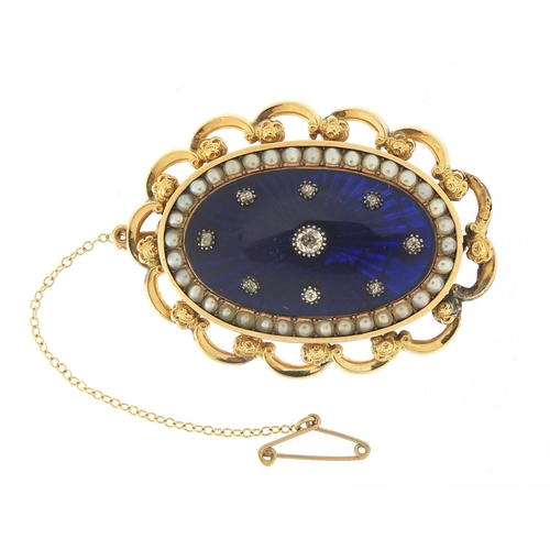2 - Antique unmarked gold, diamond, seed pearl and blue enamel brooch, the central diamond approximately...