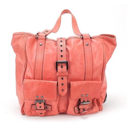 Mulberry coral leather ladies handbag, 36cm wide