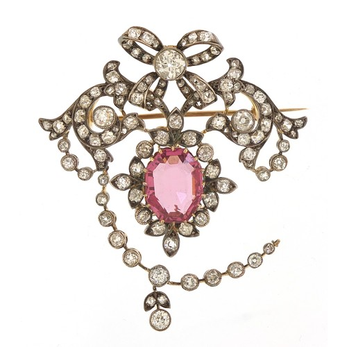 7 - Impressive 19th century diamond and pink sapphire pendant brooch set with approximately one hundred ...