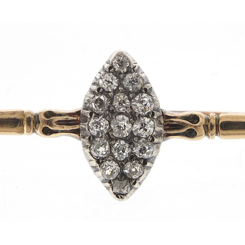 25 - Antique unmarked gold diamond marquis cluster bar brooch, the diamonds approximately 2.2mm in diamet...