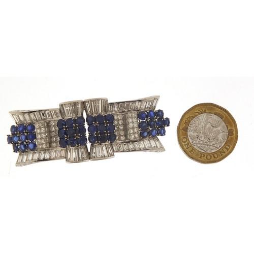 43 - Good Art Deco diamond and sapphire three piece scarf clip brooch, A & M maker's mark, 6cm wide, 32.0...