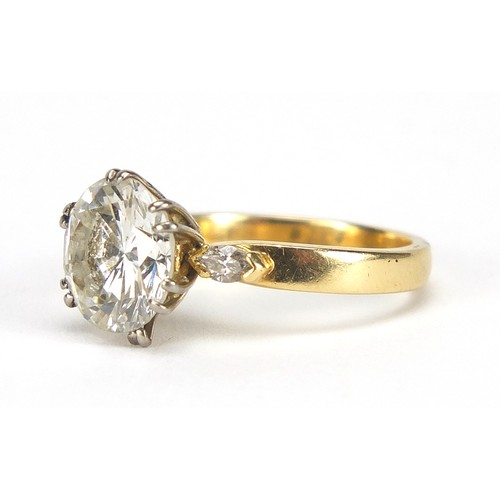 23 - 18ct gold diamond solitaire ring, round brilliant cut, approximately 3.65 carats, size N, 5.2g