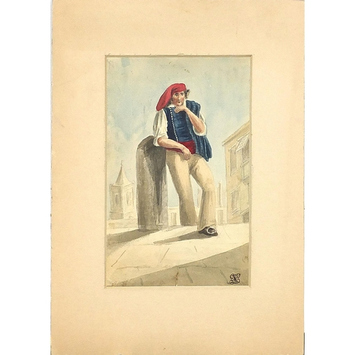 462 - Monks and peasants, five early 19th century Italian watercolours, each indistinctly monogrammed, mou...